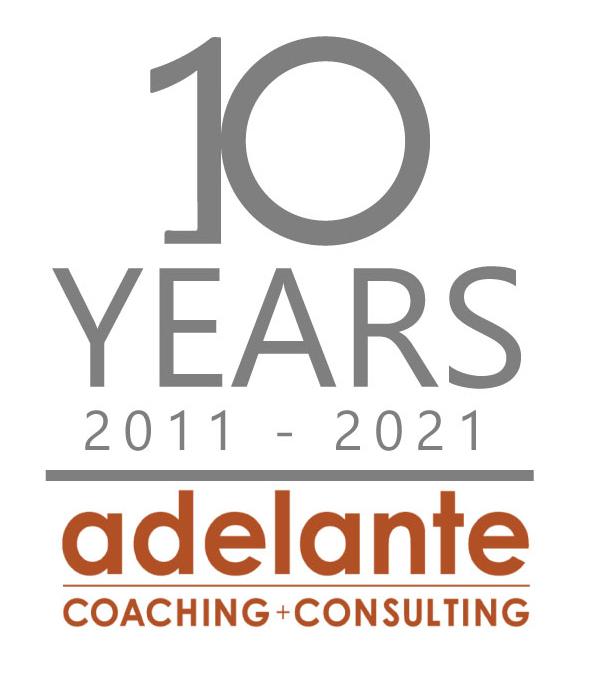 adelante anniversary logo vertical